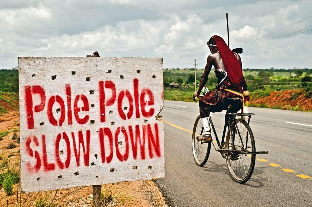 Radfahrer in Kenia.