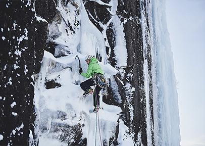 Eisklettern an der Wand
