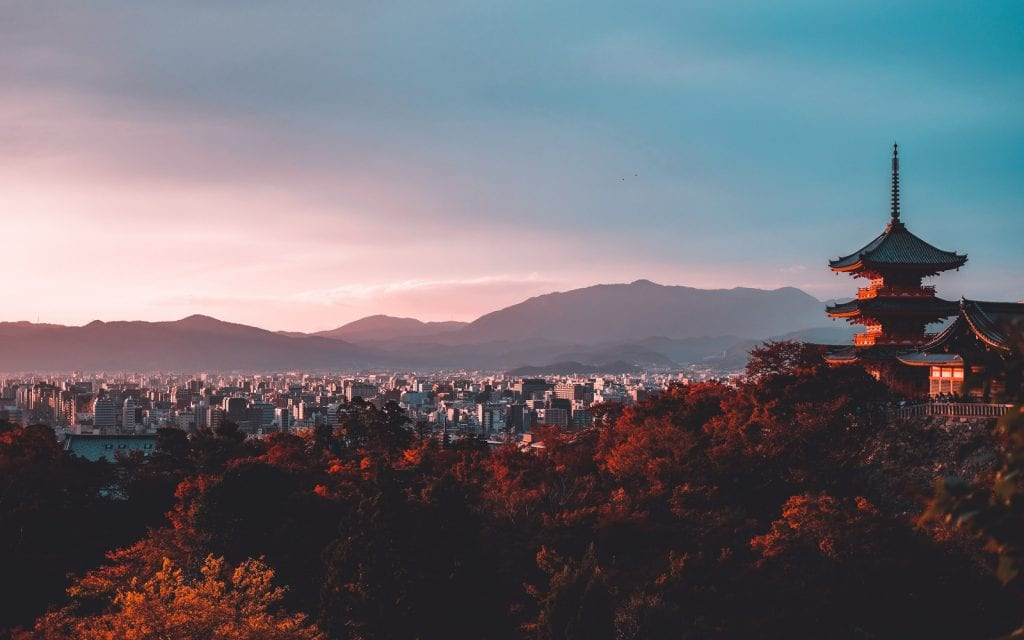 Blick auf Kyoto in Japan
