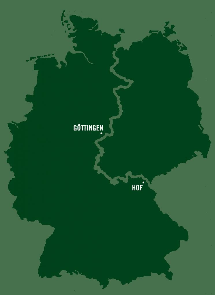 Deutschland-Karte vereinfacht mit der Route des grünen Bands