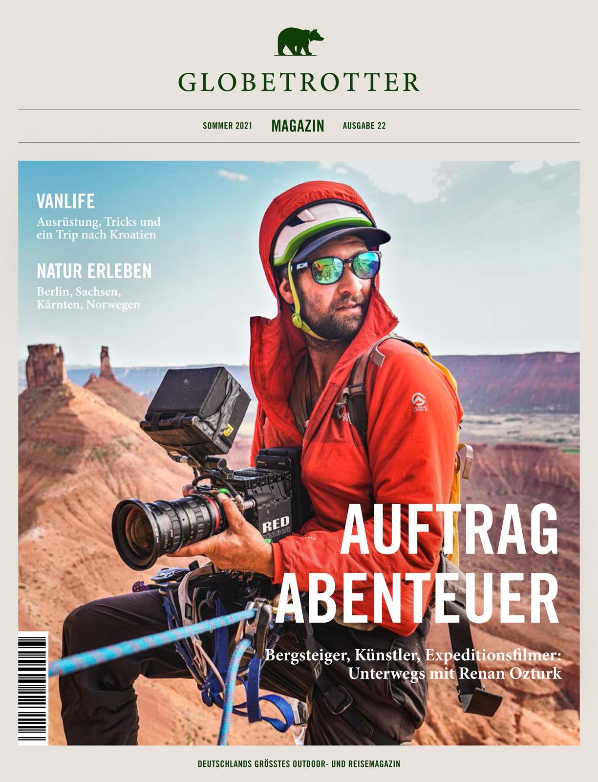 Cover Globetrotter Magazin Sommer 2021 (Renan Ozturk)