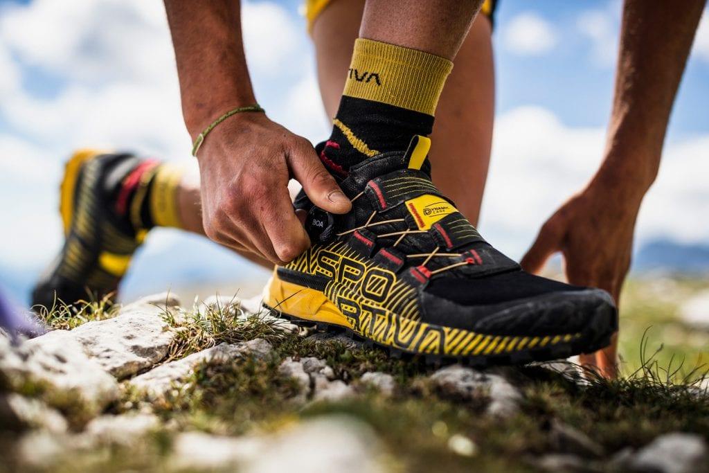 Detailaufnahme La Sportiva Trailrunningschuh mit BOA-Verschluss
