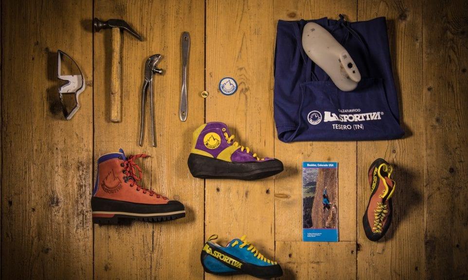 Anordnung historischer La-Sportiva-Produkte