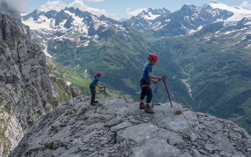 Tälli Klettersteig kurz vor dem Gipfel