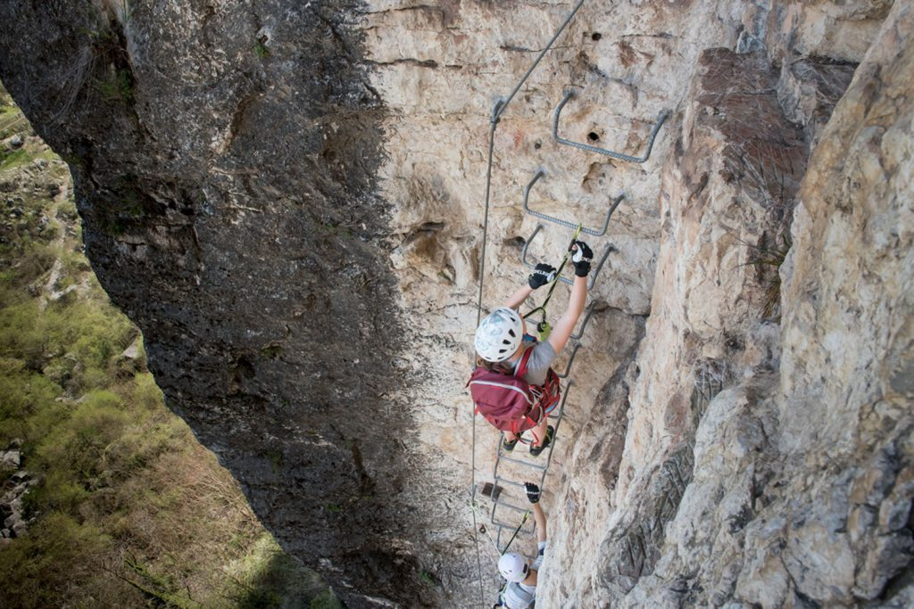 Leiterpassage auf einem Klettersteig