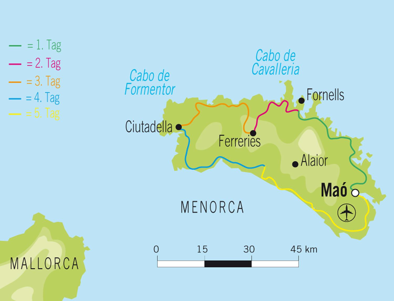 Insel Menorca Karte.Badeurlaub Mit Bike Globetrotter De